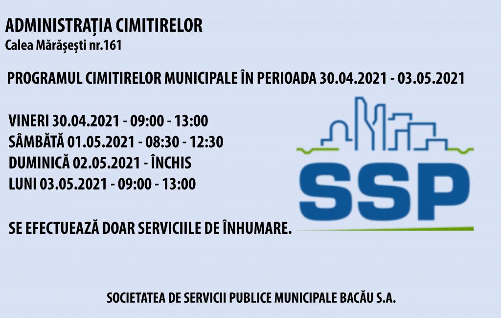 Program cimitire perioada 30.04 – 03.05.2021