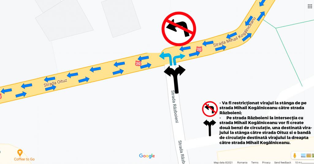 Modificarea sistematizării rutiere pe strada Mihail Kogălniceanu la intersecția cu strada Războieni începând cu data de 04.09.2021